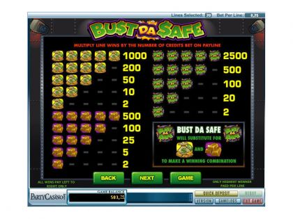 Bust Da Safe bwin.party Free Spins