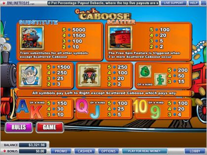 Cash Caboose WGS Technology Free Spins
