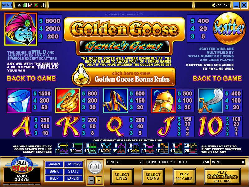 Golden Goose - Genie's Gems Microgaming Slot